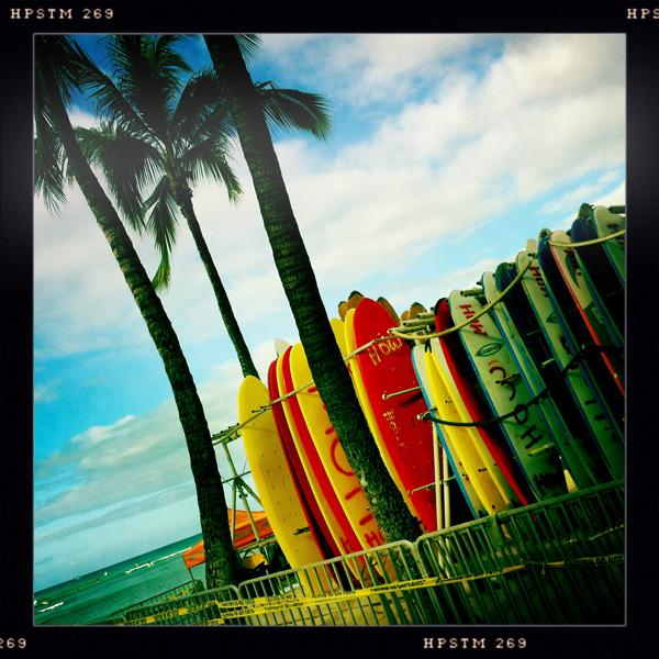 Surf Boards along Waikiki Beach, Oahu