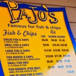 Menu at Pajo's Fish and Chips Steveston Village,  Richmond