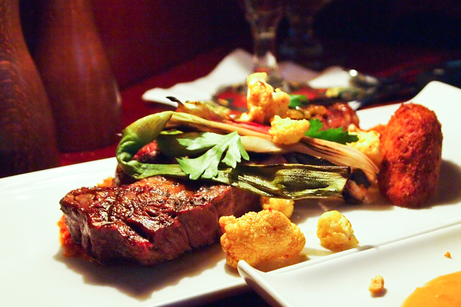 Ribeye Steak with Black Cod Potato Cake and Spicy Cauliflower at Seattle's Dahlia Lounge