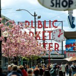 Cherry Blossoms Frame Pike's Public Market in Seattle
