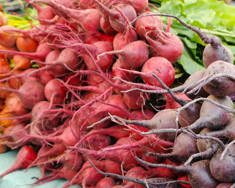 West End Farmers Market - Summer. Golden, Red and Purple Beets.