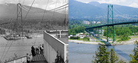Vancouver Lions Gate Bridge Old and New