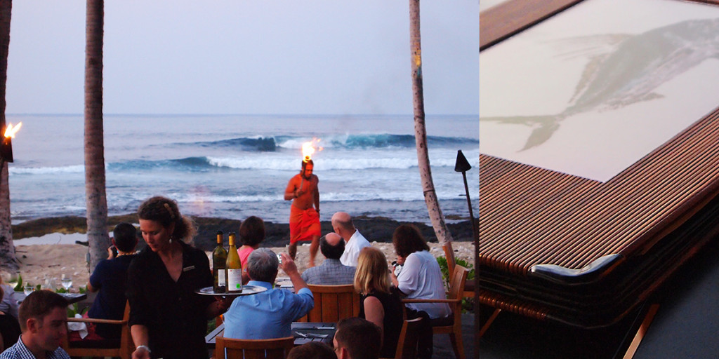 Torch Lighting at ULU Ocean Grill at Four Seasons Resort Hualālai.