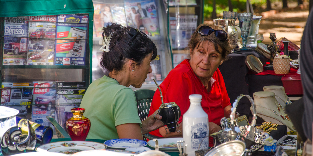 Enjoying the Yerba Mate in Plaza Matriz, Antique Vendors, Ciudad Viejo Montevideo Uruguay