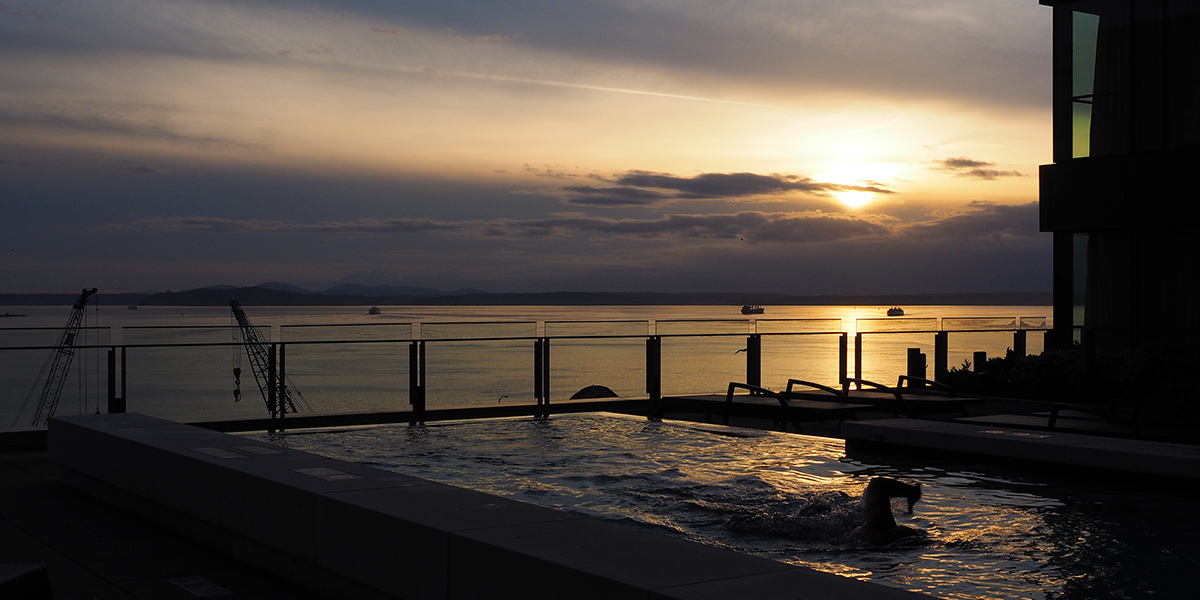 Four Seasons Hotel Seattle - Infinity Pool at Sunset