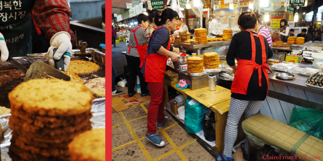 Famous Bindaetteok  - Korean Pancakes Made Fresh at Gwangjang Market  광장시장 in Seoul, Korea