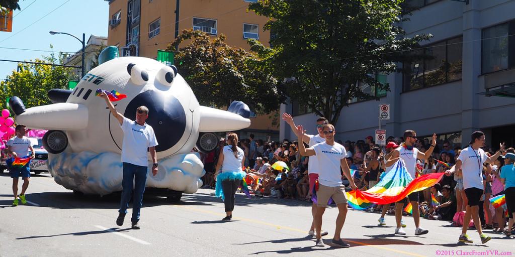 WestJet cruising along the Vancouver Pride Parade 2014