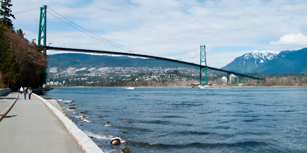 Lion's Gate Bridge from Stanley Park Seawall, Vancouver