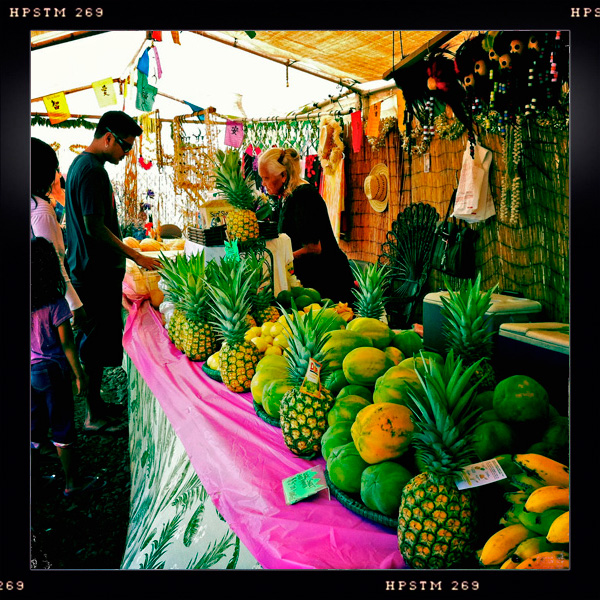 North Shore Highway, Fruit Stand with Cold Coconuts and sweet bananas.