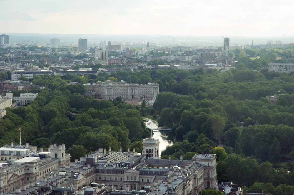 Our View of Buckingham Palace and St James Park from London Eye