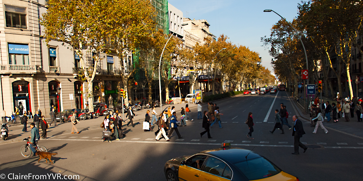 Afternoon business crowds on streets, Barcelona Spain