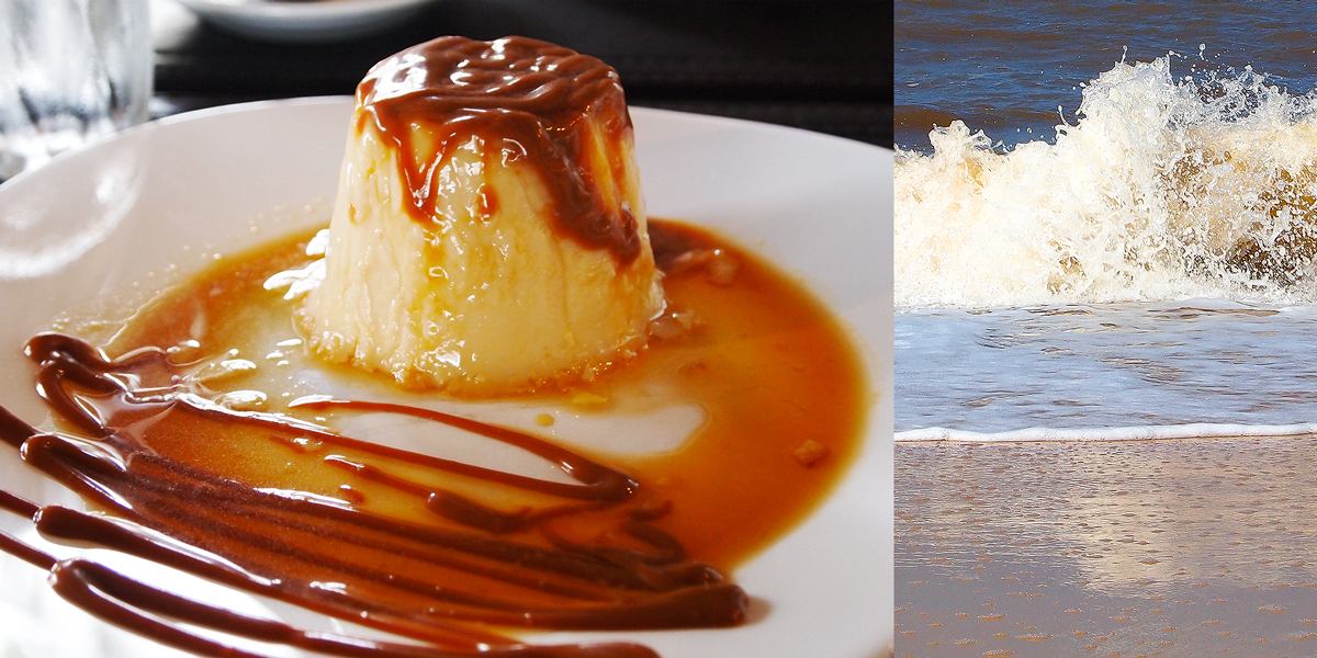 Flan con Dulce de Leche. The colours of the Uruguayan Coast. Montevideo.
