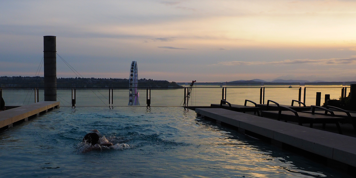 Four Seasons Hotel Seattle – Infinity Pool at Sunset